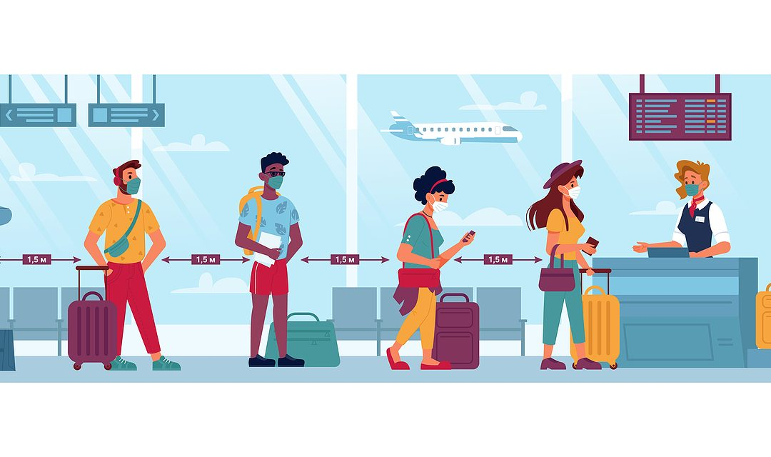 Airport, People In Masks, Travel And Social Distance, Coronaviru